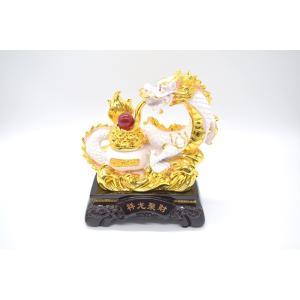 龍 樹脂製置物 元宝 如意宝珠 聚宝盆 総合運 白 大|ryu