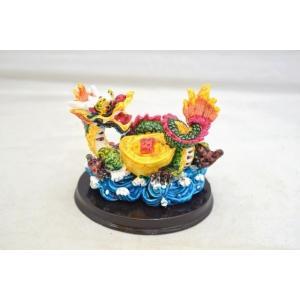 龍 カラフル 樹脂製置物 台座付き 元宝 中 ryu