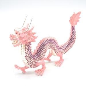 龍 竜 七宝焼き 金属製置物 五本爪 桃色 ピンク 大|ryu