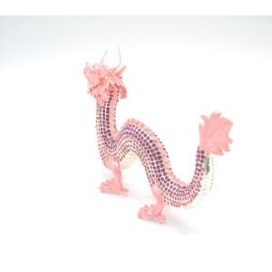 龍 竜 七宝焼き 金属製置物 五本爪 桃色 ピンク 大|ryu|03