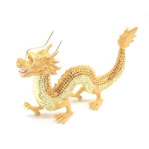 龍 竜 七宝焼き 金属製置物 五本爪 金色 ゴールド 大|ryu