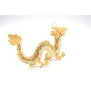 龍 竜 七宝焼き 金属製置物 五本爪 金色 ゴールド 大|ryu|04