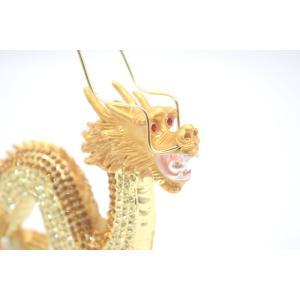 龍 竜 七宝焼き 金属製置物 五本爪 金色 ゴールド 大|ryu|07