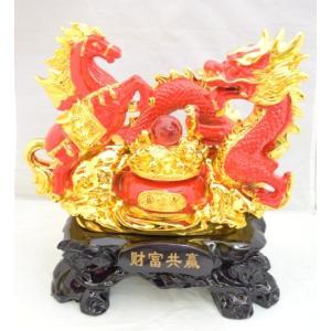 五本指皇帝龍と成功馬 風水 開運 赤色 聚宝盆 元宝 置物 インテリア 中|ryu