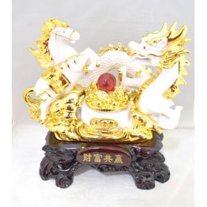 五本指皇帝龍と成功馬 風水 開運 白色 聚宝盆 元宝 置物 インテリア 中|ryu