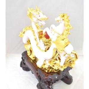 五本指皇帝龍と成功馬 風水 開運 白色 聚宝盆 元宝 置物 インテリア 中|ryu|05