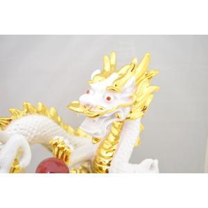 五本指皇帝龍と成功馬 風水 開運 白色 聚宝盆 元宝 置物 インテリア 中|ryu|06
