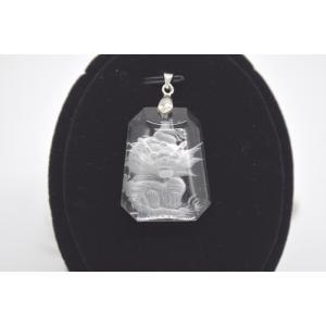 龍彫り クリスタル 水晶 裏彫り パワーストーン 天然石パーツ ペンダントトップ 3cm|ryu