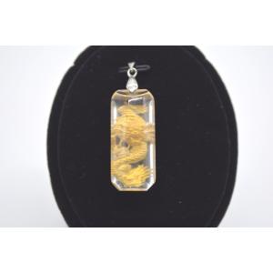 龍金彫り クリスタル 水晶 裏彫り パワーストーン 天然石パーツ ペンダントトップ 3.5cm 長方形型|ryu