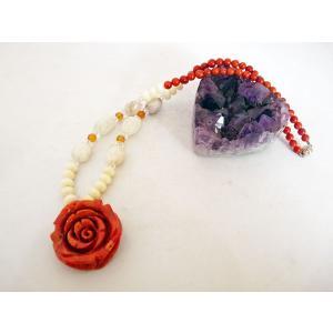 薔薇彫りサンゴ 珊瑚 白サンゴ クンツァイト カーネリアン パワーストーン 天然石ネックレス  首飾り 女性のお守り 厄よけ 安産祈願 癒し 深い愛|ryu