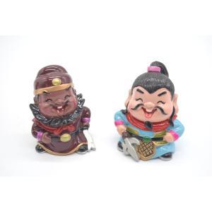 三国志 張飛 呂蒙 樹脂製置物 マスコット人形 二個セット かわいい人形置物 6cm ryu