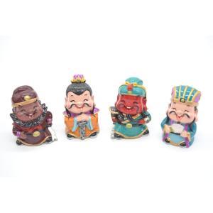 三国志 張飛 劉備 関羽 孔明 樹脂製置物 マスコット人形 4個セット かわいい人形置物 7cm|ryu
