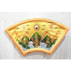 山海鎮平面鏡 銅製 扇型 風水 開運アイテム|ryu