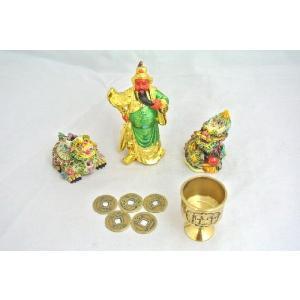 龍 龍亀 ロングイ 関羽 樹脂製置物 銅杯 古銭 五点セット 商売繁盛 事業運 初めての風水セット|ryu