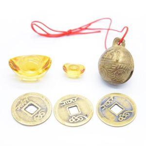 元宝 牛鈴 古銭 銅製置物 樹脂製置物 招財アイテムセット 初めての風水セット|ryu
