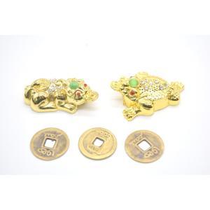 貔貅 三脚蟾蜍 二体セット 古銭付き 金属製置物 メッキ加工 金色|ryu|04