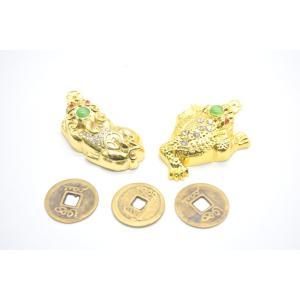 貔貅 三脚蟾蜍 二体セット 古銭付き 金属製置物 メッキ加工 金色|ryu|05