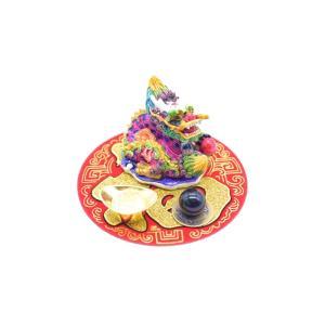 龍 風水セット 選べる天然石 元宝 古銭 丸型福飾り 樹脂製置物|ryu