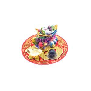 龍 風水セット 選べる天然石 元宝 古銭 丸型福飾り 樹脂製置物|ryu|02