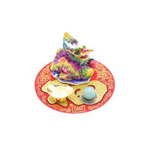 龍 風水セット 選べる天然石 元宝 古銭 丸型福飾り 樹脂製置物|ryu|06