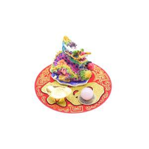 龍 風水セット 選べる天然石 元宝 古銭 丸型福飾り 樹脂製置物|ryu|05