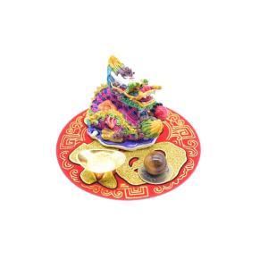 龍 風水セット 選べる天然石 元宝 古銭 丸型福飾り 樹脂製置物|ryu|07