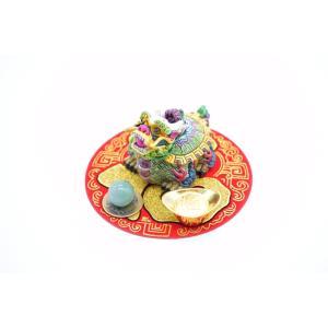 龍亀 風水セット 選べる置物と天然石 元宝 古銭 丸型福飾り 樹脂製置物|ryu