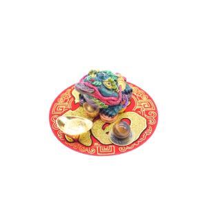 三脚蟾蜍 風水セット 選べる置物と天然石 元宝 古銭 丸型福飾り 樹脂製置物|ryu