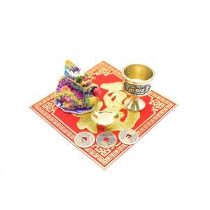龍 風水セット 銅杯 元宝 古銭 福飾り 樹脂製置物|ryu