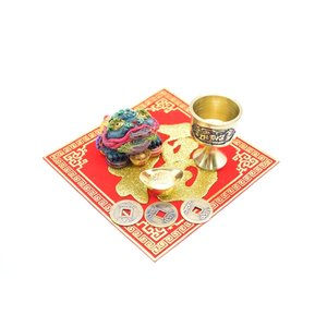 三脚蟾蜍 風水セット 銅杯 元宝 古銭 福飾り 樹脂製置物|ryu