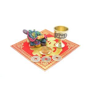 三脚蟾蜍 風水セット 銅杯 元宝 古銭 福飾り 樹脂製置物|ryu|02