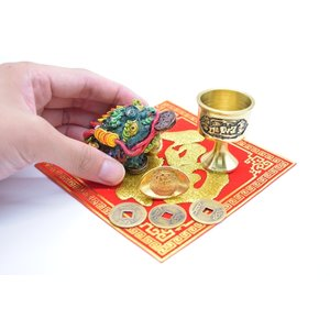 三脚蟾蜍 風水セット 銅杯 元宝 古銭 福飾り 樹脂製置物|ryu|03