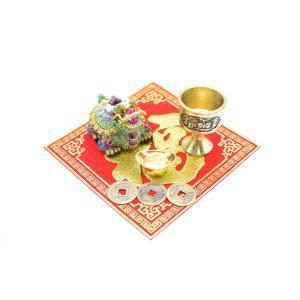 龍亀 風水セット 銅杯 元宝 古銭 福飾り 樹脂製置物|ryu