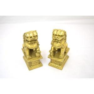 魔除け 招財運 獅子 しし 置物 銅製 風水アイテム 二体セット 中|ryu