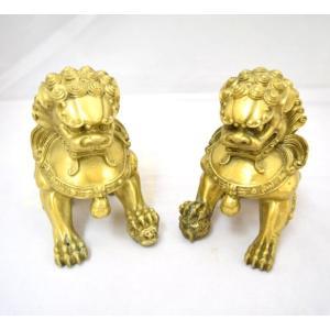 魔除け 招財運 獅子 しし 置物 銅製 風水アイテム 二体セット 大|ryu