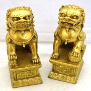 獅子 しし 銅製置物 魔除け ペア 中|ryu