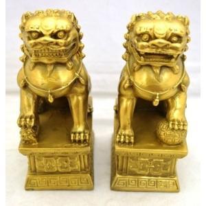 獅子 しし 銅製置物 魔除け ペア 中|ryu|02
