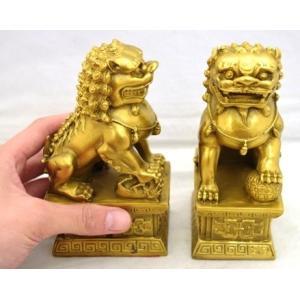 獅子 しし 銅製置物 魔除け ペア 中|ryu|05
