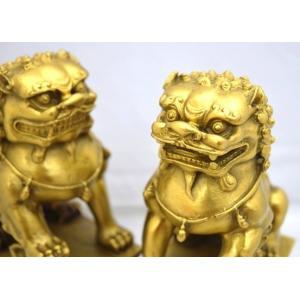 獅子 しし 銅製置物 魔除け ペア 中|ryu|06