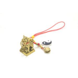 【メール便OK】 獅子 シシ ストラップ 銅製置物 ミニチュアサイズ 陰陽 鈴 古銭つき|ryu