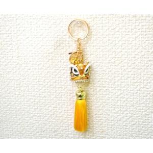 【メール便OK】 獅子 七宝焼き キーホルダー ふさ付き 金属製 黄色 イエロー|ryu