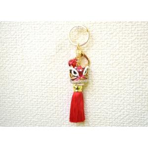 【メール便OK】 獅子 七宝焼き キーホルダー フサ付き 金属製 赤 レッド|ryu