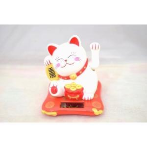 動く招き猫 ソーラー 太陽光 電池不要 中華雑貨 プラスチック製置物 片手稼働 中型 白|ryu