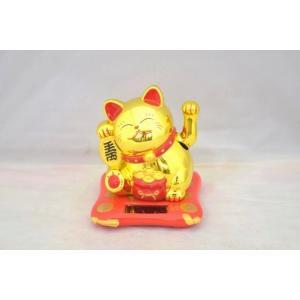 動く招き猫 ソーラー 太陽光 電池不要 中華雑貨 プラスチック製置物 片手稼働 中型 金|ryu