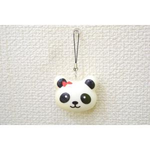 パンダ 赤リボン スクイーズ もちもち触感 ストラップ 小|ryu