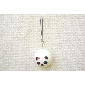 パンダ 赤リボン スクイーズ もちもち触感 ストラップ 丸型 小|ryu