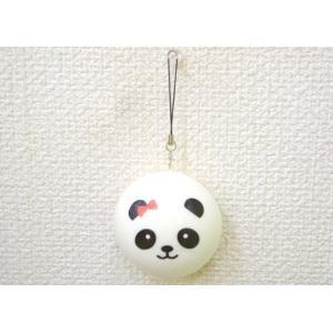 パンダ 赤リボン スクイーズ もちもち触感 ストラップ 丸型 大|ryu