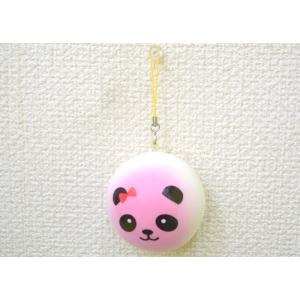 パンダ 赤リボン ピンク スクイーズ もちもち触感 ストラップ 丸型 大|ryu