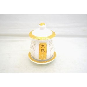 水杯 経典 蓮 陶器製置物 白 中 大悲水|ryu