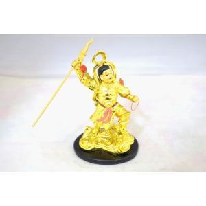 ナタ三太子 中壇元帥 金色 樹脂製置物 台座付き|ryu